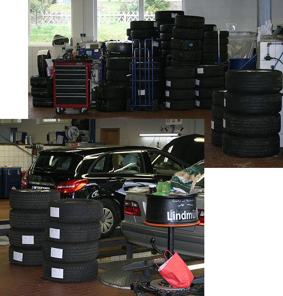 Dass das Reifengeschäft im Mercedes-Autohaus Lindmüller eine gewisse Rolle spielt, ist beim Blick in die Werkstatt unverkennbar