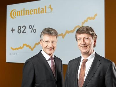 Dr. Elmar Degenhart (links) und Wolfgang Schäfer Degenhart freuen sich, dass die Continental-Aktie 2013 mit einem Kursplus von 82 Prozent zum zweiten Mal in Folge DAX-Spitzenreiter war; das Unternehmen will folglich Aktionäre am Erfolg beteiligen und eine Dividende in Höhe von 2,50 Euro pro Aktie ausschütten