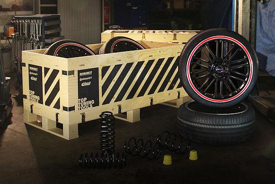 """Bei seinen """"Top Tuning Tools"""" arbeitet Borbet mit Conti und Eibach zusammen und kombiniert seine """"CW2""""-Räder mit dem """"SportContact 5P"""" und """"Pro-Kit-Performance""""-Fahrwerksfedern zu einem Komplettpaket"""