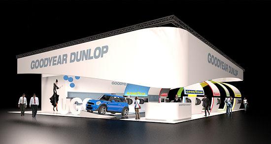 """Für den Gemeinschaftsauftritt der vier Marken Goodyear, Dunlop, Fulda und Sava bei der diesjährigen Reifenmesse wurde der Slogan """"Mit Goodyear Dunlop gemeinsam die Zukunft gestalten"""" gewählt"""