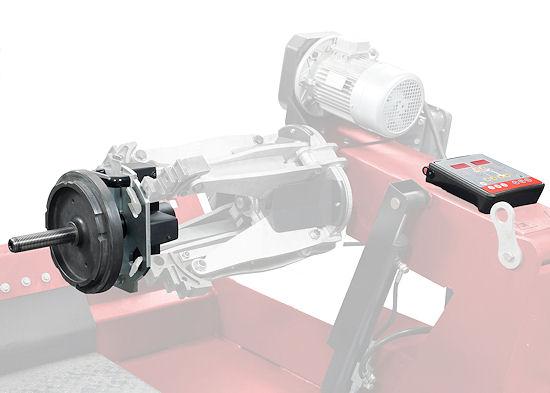 """Die mobile """"Paguro""""-Radwuchtmaschine für Lkw- und Busräder besitzt kein klassisches Gehäuse, sondern wird auf eine Lkw-Montagemaschine aufgespannt"""