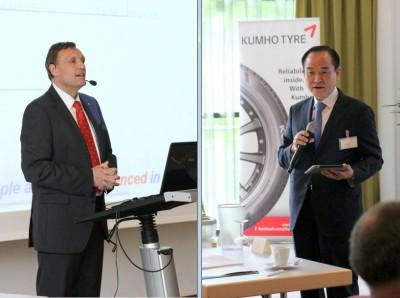 Peter Becker, Executive Managing Director des Kumho European Technical Centre (links), und Chang-Kyu Kim, CEO der Kumho Tires Co. Inc., erläuterten im Rahmen einer Konferenz die Pläne und Ziele des Reifenherstellers in Europa