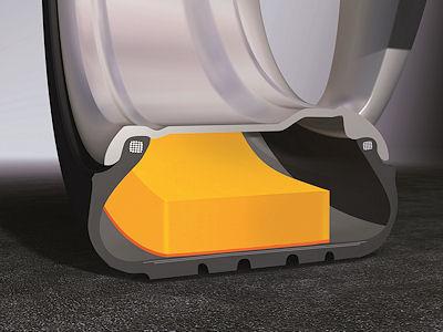 """Die """"ContiSilent""""-Technologie, hinter der sich eine dünne Schicht aus Polyurethanschaum auf der Innenseite der Lauffläche verbirgt, soll beim Abrollen des Reifens entstehende Vibrationen dämpfen, damit weniger Schwingungen an das Fahrwerk übertragen und die Geräusche im Inneren des Wagens reduziert werden"""