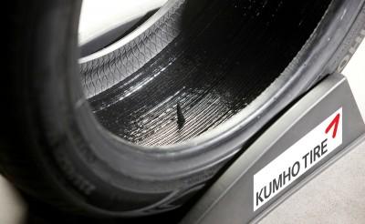 """Kumho Tyre zeigte auf der Reifen-Messe in Essen erstmals auch einen """"Sealant Tyre"""" mit selbstabdichtender Pannenschutzschicht"""