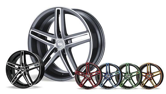 """Das """"DG-Evolution""""-Rad wird in Schwarz voll poliert und Anthrazit matt poliert angeboten – für Individualisten gibt's die """"Color-Polished""""-Optionen: in Rot, Blau, Grün und Orange"""