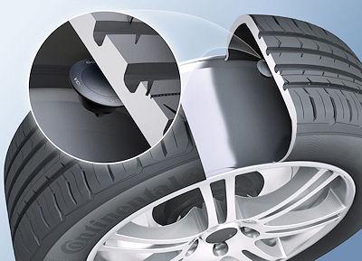 """Bei der Ersatzmarkt-RDKS-Lösung REDI der Continental AG bzw. deren Marke VDO ist der Sensor in einem """"Container"""" auf der inneren Seite Reifenlauffläche untergebracht"""