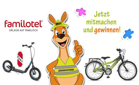 Bei dem noch bis zum 31. August laufenden Gewinnspiel unter www.sicher-mit-lenni.de sind neben einem Familotel-Gutschein im Wert von 1.000 Euro noch ein Jugendfahrrad sowie ein Puky-Roller als Preise ausgelobt