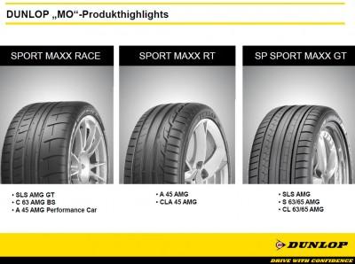 """Drei Dunlop-Produktlinien mit dem Zusatz """"MO"""" und für AMG-Fahrzeuge"""