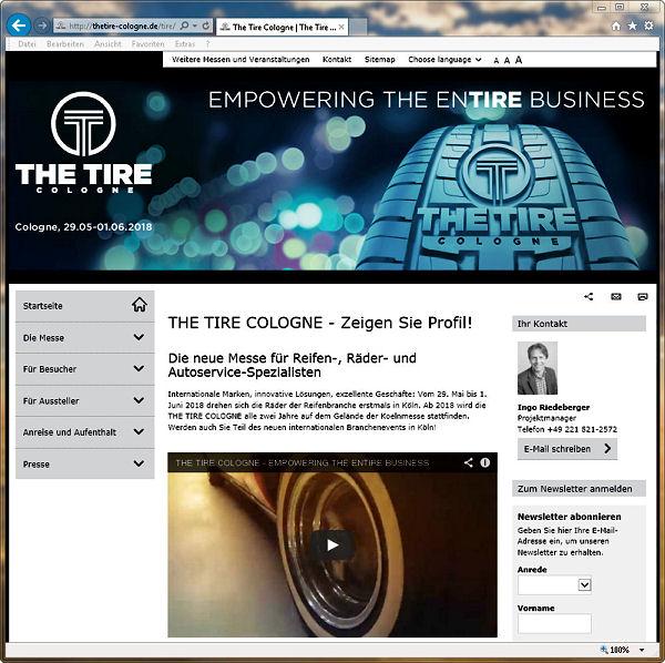 """Seit Kurzem präsentieren sich die Webseiten der """"Tire Cologne"""" unter www.thetire-cologne.de in neuem Glanz"""
