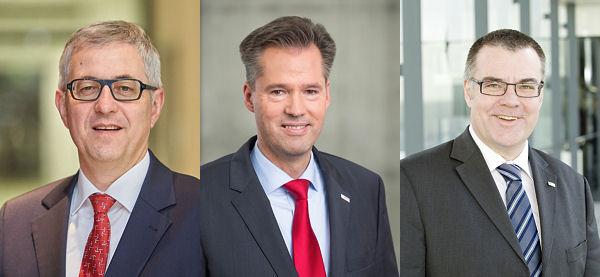 Zum 1. April wird die Geschäftsführung Robert Bosch GmbH neu aufgestellt mit (v.l.n.r.) Dr. Rolf Bulander, Dr. Markus Heyn und Dr. Dirk Hoheisel