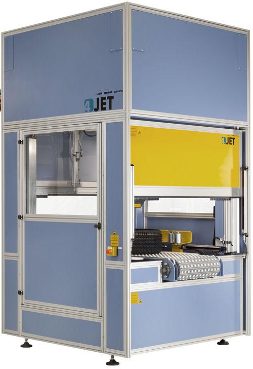 """Die Hardware des """"T-Sort""""-Systems basiert nach Angaben der 4Jet Technologies GmbH auf der """"T-Mark""""-Plattform des Unternehmens zur laserbasierten Reifenkennzeichnung – auch Kombisysteme für das Auslesen und Kennzeichnen von QR-Codes, Seriennummern oder Logos von Pkw- und Lkw-Reifen sind demnach verfügbar"""