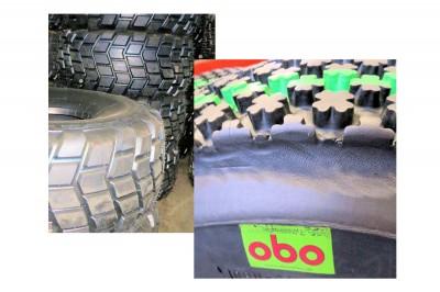 """Neben Techking-Tires-Neureifen bietet Obo Banden noch runderneuerte Clover-Leaf-Rasenreifen sowie Landwirtschaftsreifen """"Transport HD"""" an – runderneuert jeweils auf neuen Karkassen"""