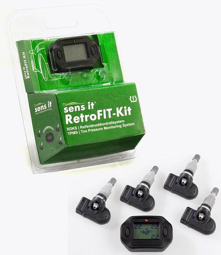 """Alligators RDKS-Nachrüstsatz """"Sens.it RetroFit-Kit"""" beinhaltet unter anderem ein Display und vier """"Sens.it""""-Sensoren inklusive Ventile"""