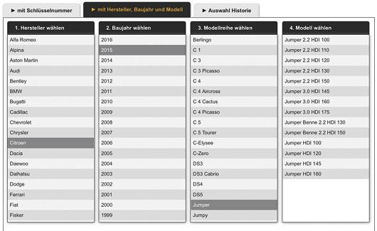 Die Fahrzeugauswahl im RDKS-Konfigurator erfolgt über die Eingabe der Schlüsselnummer (HSN/TSN) oder manuell
