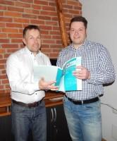 """Thomas Papritz (links) und Matthias Kmiecik – zugelassene Regalinspektoren – wollen den Kunden von Lagertechnik-West """"Qualität und Zuverlässigkeit"""" bieten"""
