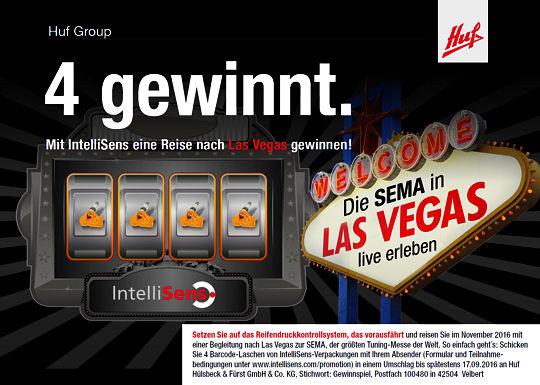 """Im Rahmen der Promotionaktion """"Vier gewinnt"""" verlost Huf eine Reise zur Tuningmesse SEMA nach Las Vegas (USA) – Näheres dazu findet sich unter www.intellisens.com/promotion im Internet"""