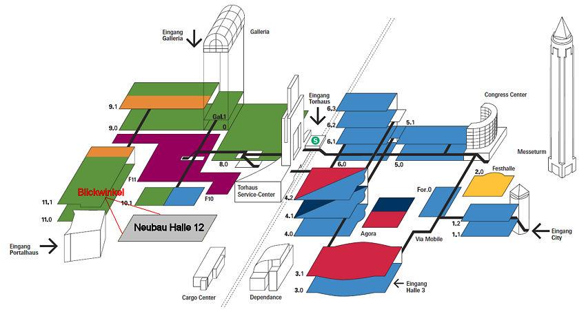 Wo auf dem Messegelände in Frankfurt der Neubau entsteht, lässt sich inklusive des eingezeichneten Blickwinkels für obiges Foto dieser Skizze entnehmen