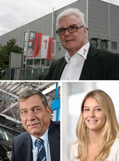 Fred Schorpp (Verkaufsleiter Partnersysteme Interpneu; oben), Peter Schütterle (Pneuhage-/Interpneu-Inhaber) und Sarah Sanesi (Reifen1+-Konzeptverantwortliche)