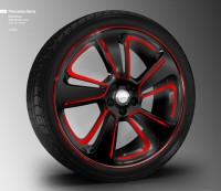 Das Glanzfräsen wird vor allem für Premiumhersteller wie Mercedes-Benz als Möglichkeit gesehen, sich bei den Rädern der Fahrzeuge von der Masse abzuheben wie bei diesem Modellentwurf mit eingefärbtem Fräsbereich (rot klargepulvert)