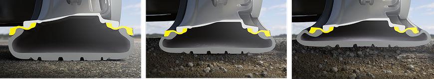 """Dank zweier auf der Innen- und Außenseite einer speziell geformten Felge montierter Gummiringe soll gewissermaßen ein """"flexibles Rad"""" entstehen, das Rad und Reifen vor Beschädigungen etwa beim Durchfahren von Schlaglöchern schütze"""
