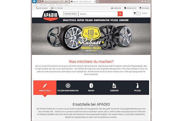 """B2C-Plattform """"Apadio"""" für Autoteile/Kfz-Zubehör vor dem Start ..."""