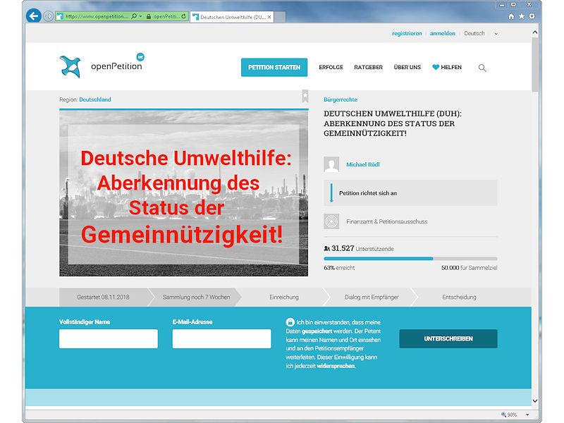 Deutsche Umwelthilfe Petition