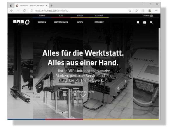 """Die VSG (Vehicle Service Group) hat den zu ihr gehörenden Marken Rotary, Blitz, Butler und Elektron unter dem gemeinsamen Dach BRB United eine neue Internetpräsenz spendiert nach dem Motto """"Alles für die Werkstatt. Alles aus einer Hand."""" (Bild: Screenshot)"""