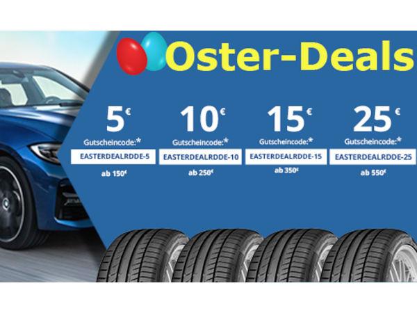 Bis Dienstag nach Ostern können Kunden beim Kauf von Sommer- und Ganzjahresreifen, Motorradreifen, Felgen und Kompletträdern im ReifenDirekt-Shop bis zu 25 Euro sparen über entsprechende Gutscheincodes (Bild: Delticom)