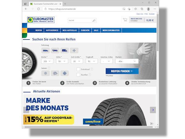 """In seinem Onlineshop hat die Michelin-Handelskette Goodyear als """"Marke des Monats"""" ausgerufen und gewährt anlässlich dessen dort noch bis zum 4. Mai bzw. solange der Vorrat reicht Rabatte von """"bis zu 15 Prozent"""" auf Reifen des Wettbewerbers (Bild: Screenshot)"""