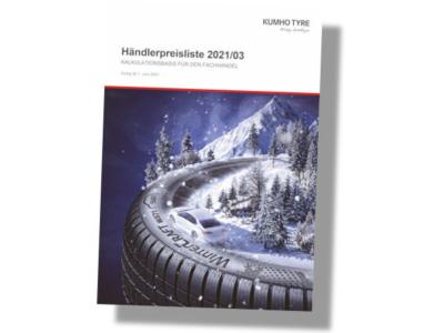 Kumhos neue, ab 1. Juni gültige KB-Liste 2021/03 soll in Kürze sowohl als gedruckte als auch digitale Version zur Verfügung stehen (Bild: Kumho Tire)