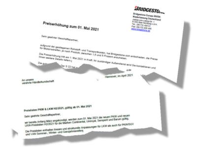 """Zum 1. Mai werden Bridgestone-Motorradreifen zwischen 1,5 und fünf Prozent teurer, während Contis neue Preislisten H2/2021 """"lineare und strukturelle Anpassungen für Lkw als auch für Pkw/SUV"""" enthalten sollen (Bild: Bridgestone, Continental)"""