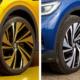"""Auf offiziellen VW-Pressefotos ist der ID.4 bis dato einzig und allein auf Sommerreifen wie Pirellis """"P Zero"""" (links) oder Bridgestones """"Turanza Eco"""" zu sehen (Bilder: Volkswagen)"""