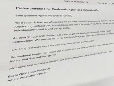 Vredestein-Agrar- und Indudstriereifen werden zum 1. Juli deutlich teurer (Bild: Screenshot)
