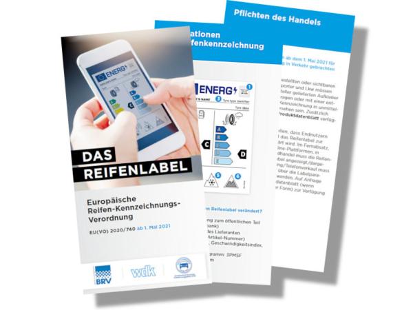 Der von BRV, ZDK und WdK gemeinsam erstellte neue Flyer zum EU-Reifenlabel steht für Händlern wie Verbrauchern gleichermaßen unter www.dasreifenlabel.de zum kostenlosen Herunterladen bereit (Bild: BRV)