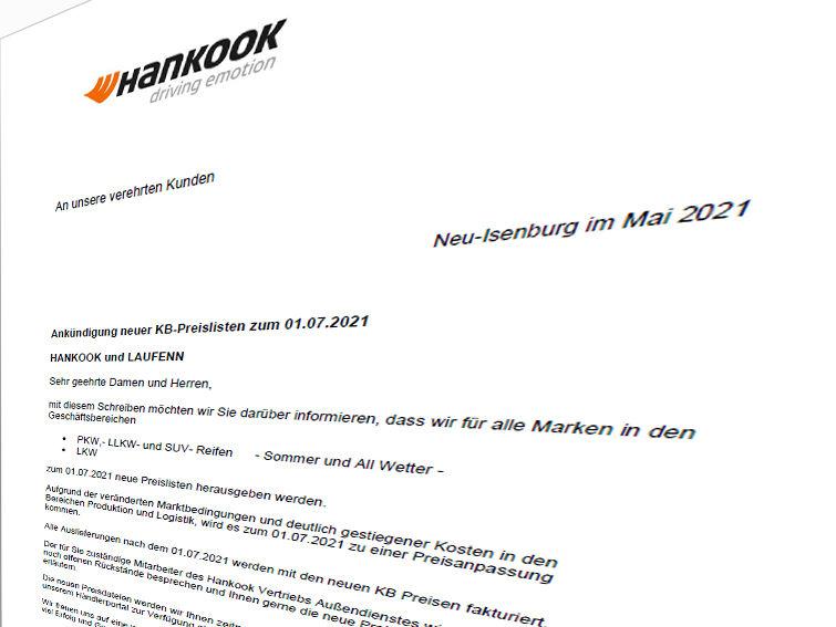 Hankook kündigt eine Preisanpassung an (Bild: Screenshot)