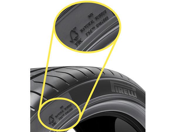 """Diese Zusatzkennzeichnung auf der Seitenwand von Pirellis speziell für BMW produzierter """"P-Zero""""-Ausführung besagt, dass bei ihrer Herstellung auf FSC-zertifizierten Naturkautschuk und Rayon zurückgegriffen wurde (Bild: Pirelli)"""