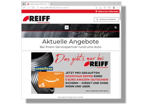 """Für eine Teilnahme an der Aktion muss beim Kauf eine auf den Reiff-Webseiten unter """"Aktuelle Angebote"""" dargestellte Grafik vorgelegt werden (Bild: Screenshot)"""