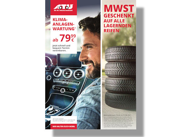 In seinem aktuellen Prospekt bewirbt ATU eine schon seit dem 14. Juni und noch bis zum 31. August laufende Aktion rund um den Kauf von Reifen bei der Werkstattkette (Bild: ATU)