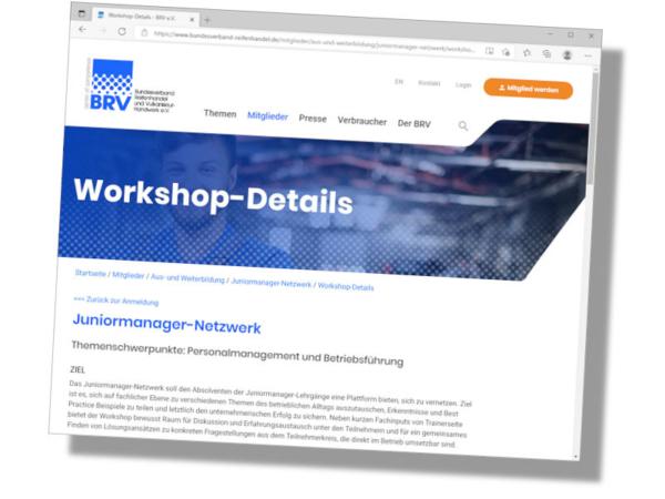 Details zu dem sogenannten Pilotprojekt Juniormanagernetzwerk des BRV finden sich auf den Webseiten des Verbandes (Bild: Screenshot)