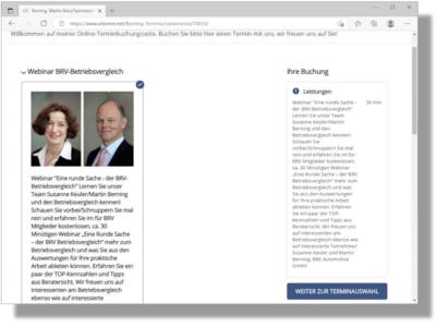 Anmeldungen für das kostenlose Webinar in Sachen BRV-Betriebsvergleich sind über einen von Kooperationspartner BBE Automotive eingerichtete Onlineterminbuchung möglich (Bild: Screenshot)