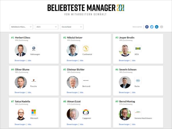 Auch eine Führungskraft aus der Reifenbranche zählt erneut zu Deutschlands beliebtesten CEOs (Bild: Screenshot)