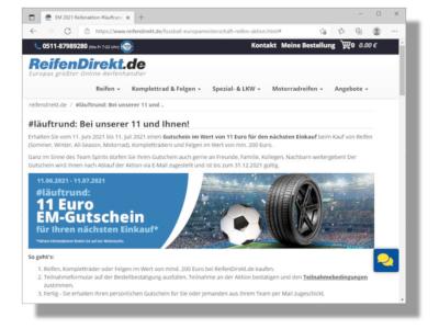 Bei der deutschen Nationalelf lief es in ihrem gestrigen Auftaktspiel gegen die Mannschaft von Frankreich zwar noch nicht so richtig rund – das soll bei der aktuellen ReifenDirekt-Aktion aber anders sein: Reifenkäufer können dort einen Elf-Euro-Gutschein ergattern (Bild: Screenshot)