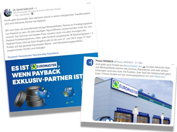 Über Social-Media-Kanäle wie Twitter oder LinkedIn verkünden sowohl Payback selbst als auch Euromaster die von ihnen geschlossene Partnerschaft (Bilder: Screenshots)