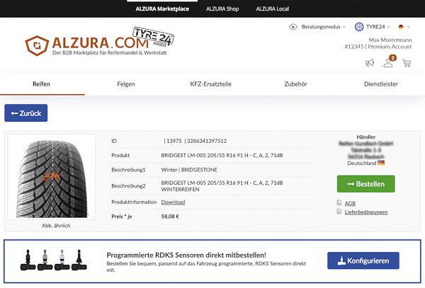 Mit dem neuerdings in Tyre24 integrierten RDKS-Konfigurator können die benötigten Sensoren ausgewählt werden, deren Versand dann separat durch die Alzura Trade GmbH der Saitow AG erfolgt (Bild: Saitow AG)