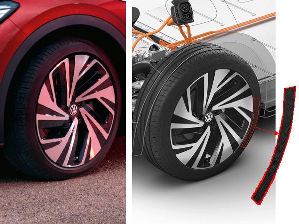 Ob Werbeplakat (links) anlässlich der Fußball-EM oder aktuelle Pressemitteilung zum ID.4 von VW: Was die (Erstausrüstungs-)Bereifung des vollelektrischen Wagens betrifft, gibt sich der Automobilhersteller Mühe, seine diesbezügliche Lieferantenwahl nicht unbedingt an die große Glocke zu hängen (Bilder: Volkswagen)