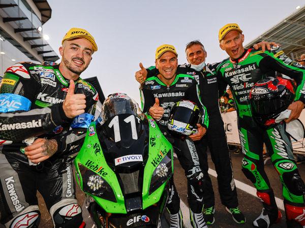 """Das auf Dunlop-Reifen an seiner Maschine vertrauende Team Webike SRC Kawasaki France Trickstar wurde beim EWC-Lauf in Estoril zwar """"nur"""" Zweiter, liegt bis zum nächsten Lauf Mitte September in der Gesamtwertung nun aber dennoch vorn (Bild: Dunlop)"""