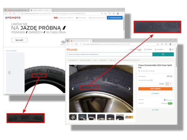 """Ob nun die Marktplätze Otomoto (Polen) oder Ricardo (Schweiz): Dort zum Kauf angebotene ESA-Tecar-Profile """"Supergrip Pro"""" und """"Spirit Pro"""" können angesichts ihrer mit """"6G"""" respektive """"6Y"""" beginnenden DOT-Nummer keinen Hehl aus ihrer Herkunft aus den Conti-Reifenwerken in Timisoara/Rumänien und Puchov/Slowakei machen (Bilder: Screenshots)"""