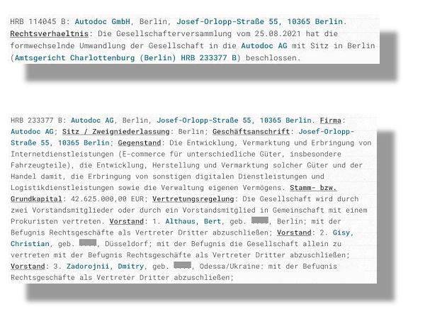 Anfang September hat es hinsichtlich der bisherigen Autodoc GmbH eine Veränderung gegeben: die Umwandlung der Unternehmensform hin zu einer Aktiengesellschaft (Bilder: Screenshots)