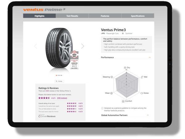 """Was Kundenbewertungen seiner Reifen auf den eigenen Webseiten betrifft, arbeitet Hankook dabei im britischen Markt als """"offizieller Partner"""" mit DriverReviews zusammen – Analoges soll 2022 aber auch in noch weiteren Ländern ausgerollt werden (Bild: Hankook)"""