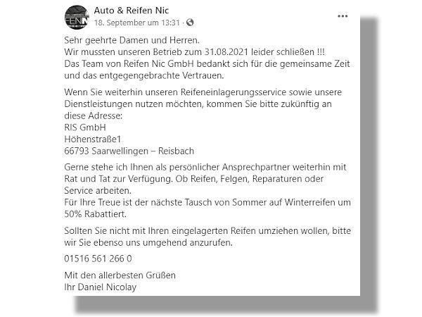 Über die Facebook-Präsenz des Unternehmens werden Kunden der insolventen und mittlerweile geschlossenen Reifen-NIC GmbH in Sachen Reifeneinlagerungsservice sowie Dienstleistungen an die RIS GmbH in Saarwellingen-Reisbach verwiesen (Bild: Facebook/Screenshot)